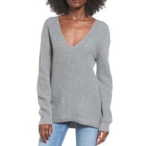 BP Grey Knit Oversized Knit V Neck Sweater